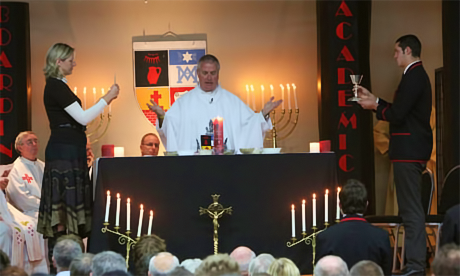 Fr Mark Walls celebrates Mass at St Bede's College, Christchurch.