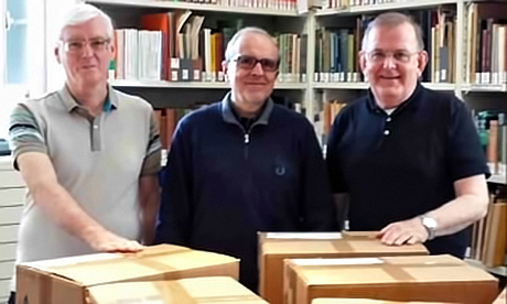 Frs Larry Duffy, Carlo-Maria Schianchi and Marist Fathers' Superior General, John Hannan, with boxes of documents to reopen the Cause of Marist Founder, Jean Claude Colin